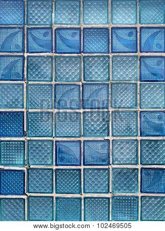 Pattern Of Blue Decorative Glass Blocks