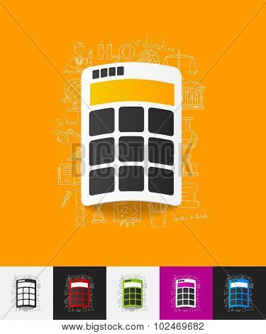 calculator paper sticker with hand drawn elements