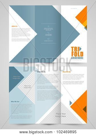 Creative Business Trifold Brochure, Template and Flyer design with space for your image.
