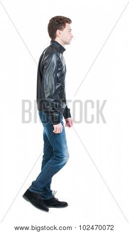 Back view of going  handsome man in jacket.  walking young guy . Rear view people collection.  backside view of person.  Isolated over white background.  The guy in the course sad goes left.