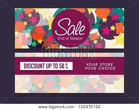Colorful website header or banner set for End of Season Sale with 50% discount offer.