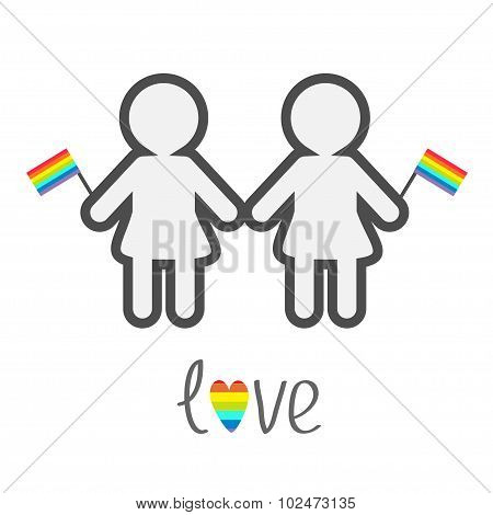 Gay Marriage Pride Symbol Two Contour Women With Rainbow Flags Love Heart Lgbt Icon Flat Design