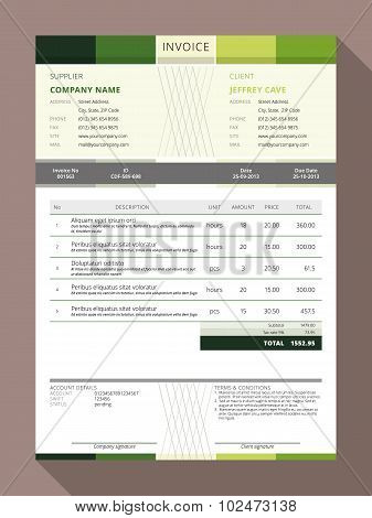Vector Customizable Invoice Form Template Design. Vector Illustration