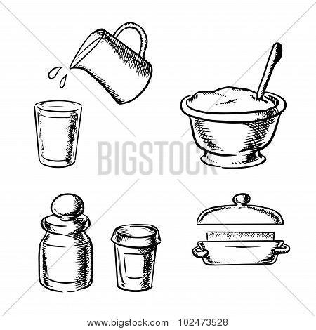 Dough, butter, milk, flour and spices sketch