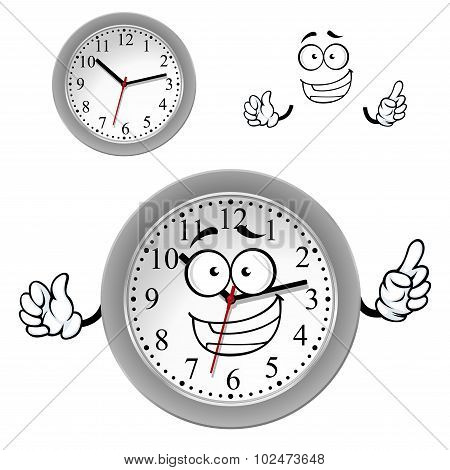 Cartoon gray office wall clock character