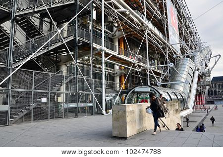 Paris, France - May 14, 2015: People Visit Centre Of Georges Pompidou In Paris.