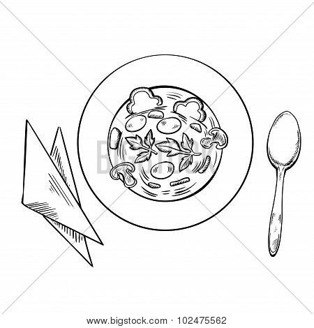 Vegetarian soup with spoon and napkins