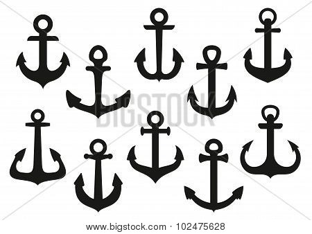 Heraldic black nautical anchor icons set