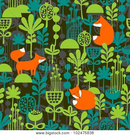 Fox in night forest seamless pattern.