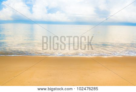 Blur Image Of Sea Shore And Clear Blue Sky  For Background Usage.