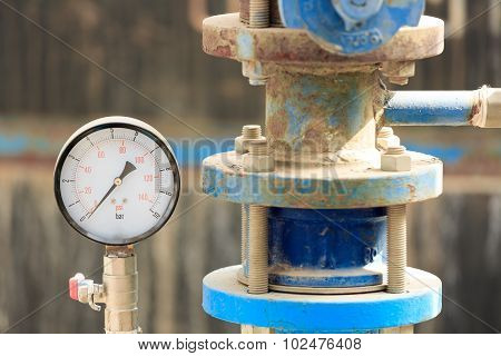 Manometer Near Old Pipe