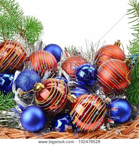 Christmas Decorations And Spruce Twigs Isolated On White Background