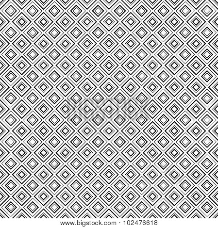 Abstract geometric diamond shape seamless pattern in black and white, vector