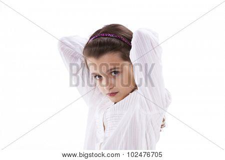 Beautiful female child isolated on white