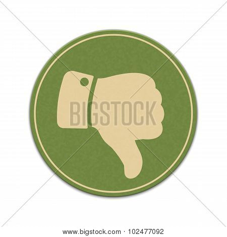 Paper Thumb Down Sticker Isolated On A White Background