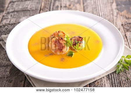 soup and scallop