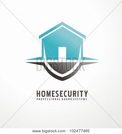 Creative logo design with house shape as part of the shield