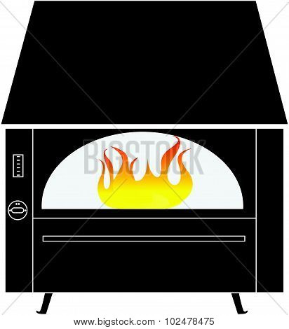 Black Rustic Fireplace With Fire Isolated On A White Background