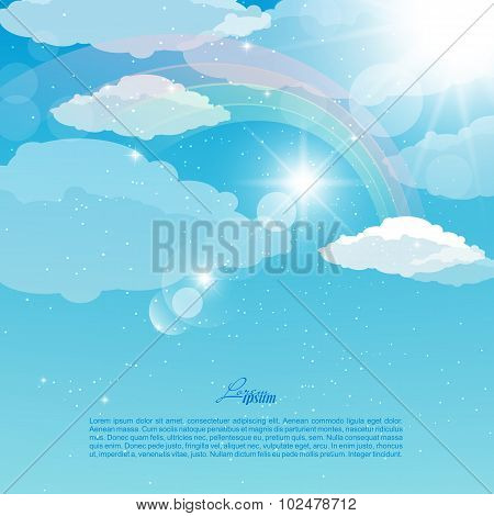 Vector abstract illustration of a sky with rainbow