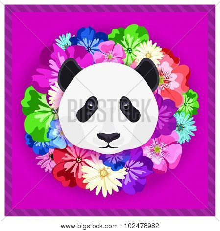 Vector portrait of a panda among the flowers. Beautiful, bright colors. Flower frame, rim.