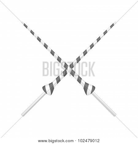 Two crossed lances in black and white design