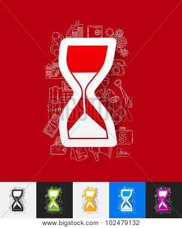 hourglass paper sticker with hand drawn elements