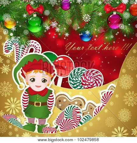 Elf, Santa's helper on the background of sweets, decorated Christmas balls branches. Red background and gold layers, decorated with snowflake patterns. Christmas card.