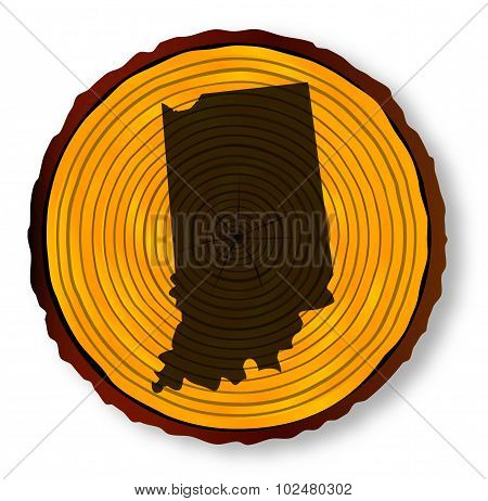 Indiana Map On Timber