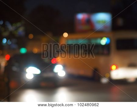 Abstract Night Scene With Bus And Headlight