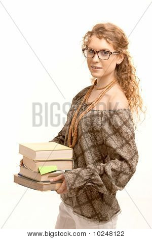 Pretty Girl Wearing Glasses With Books