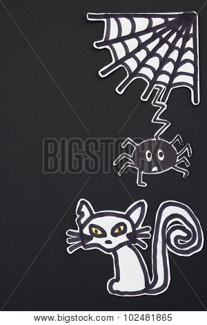 Halloween Decorations Cat, Spider And Spiderweb