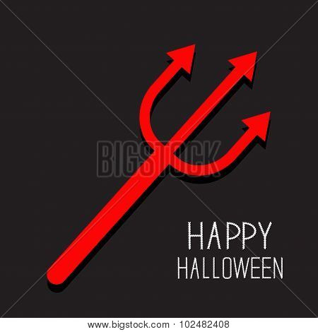 Red Evil Trident. Happy Halloween Card. Flat Design Black Background