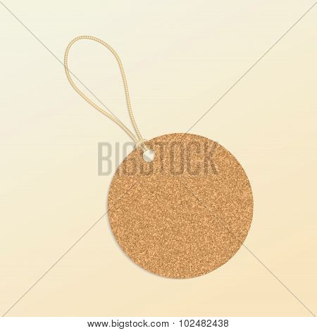 Cork Natural Tag , sale Label . Vector
