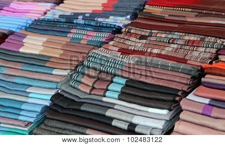 Scarves And Stoles And Fabrics For Sale In Italian Shop