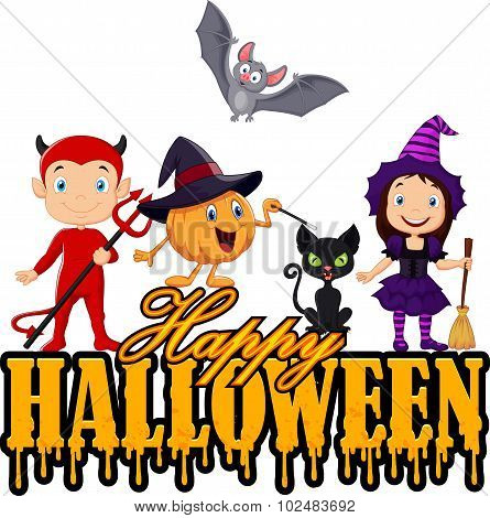 Happy kids with Halloween costume isolated on white background