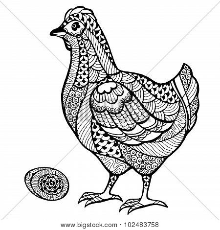 Zentangle Stylized Chicken With Egg.