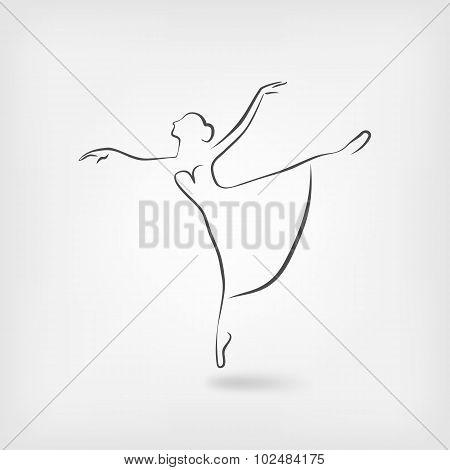 Sketch Ballerina Dancing Studio Symbol
