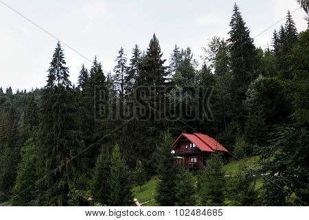 Luxury expensive house in the mountains near the lake in nature