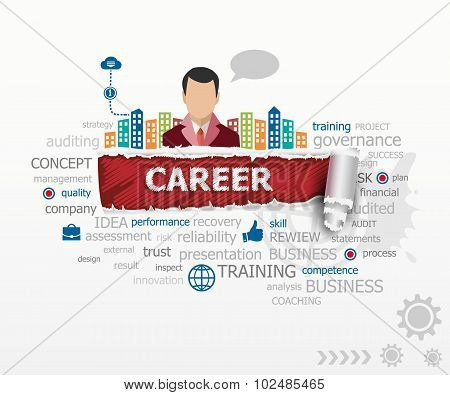 Career Word Cloud Concept And Business Man.
