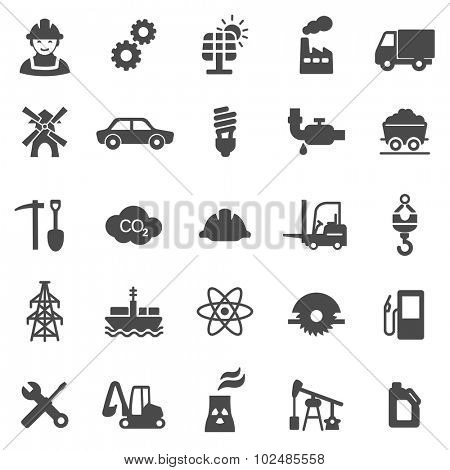 Industrial black icon set