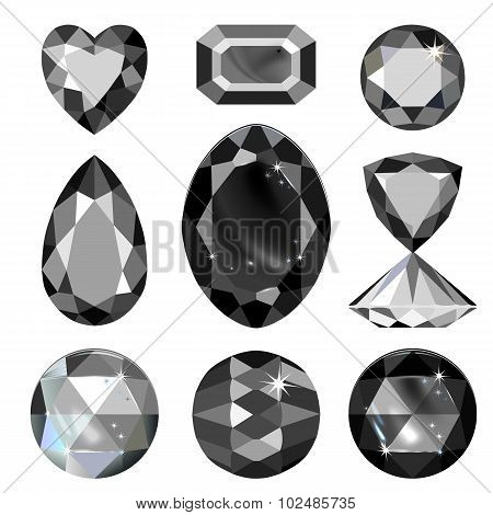 Set Of Greyscale, Black Gems