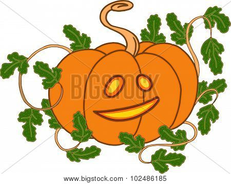 Vector Cute Halloween Pumpkin With Leaves And Happy Face, Yellow Jack O Lantern Isolated On White.