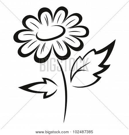 Symbolical Flower Black Pictogram