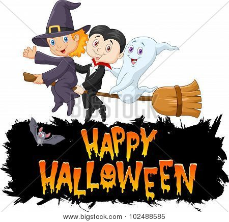 Cartoon children with ghost fly using broom