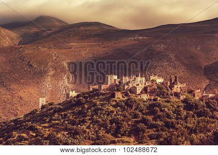 Old traditional  village of Vathia at Mani, Greece