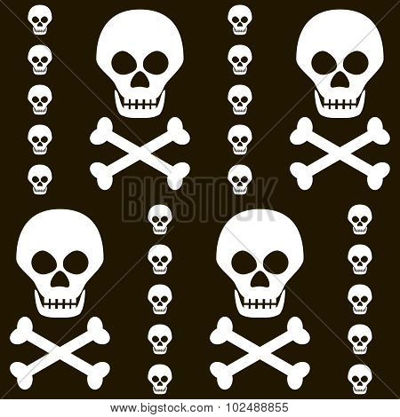 Seamless Halloween Black And White Pattern Of Skulls With Crossbones