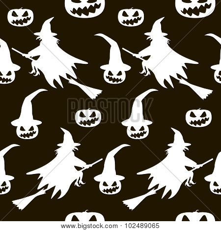 Seamless Halloween Pattern Of Witches On Broomsticks And Evil Pumpkins In Hats
