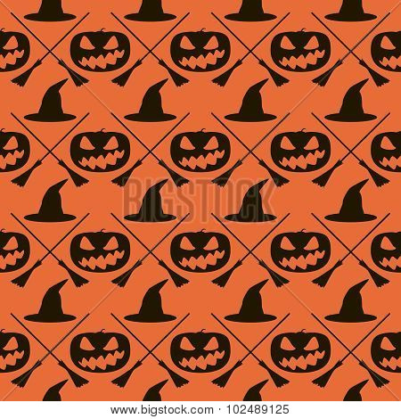 Seamless Halloween Pattern Of Witches Hats, Broomsticks And Evil Pumpkins