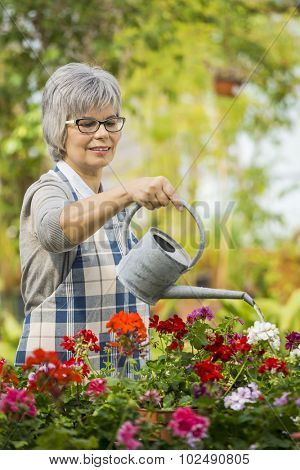 Beautiful mature woman in a garden watering flowers