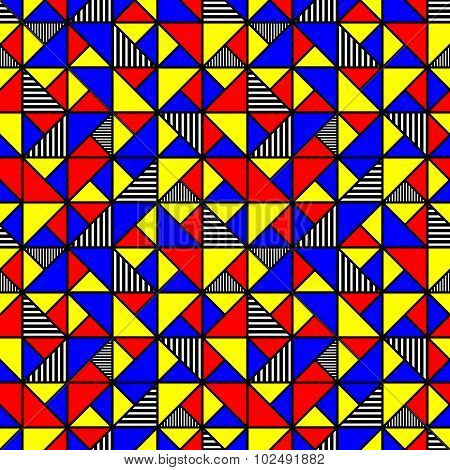 Bright Colored Pattern With Squares And Triangles In Style Of The 80S